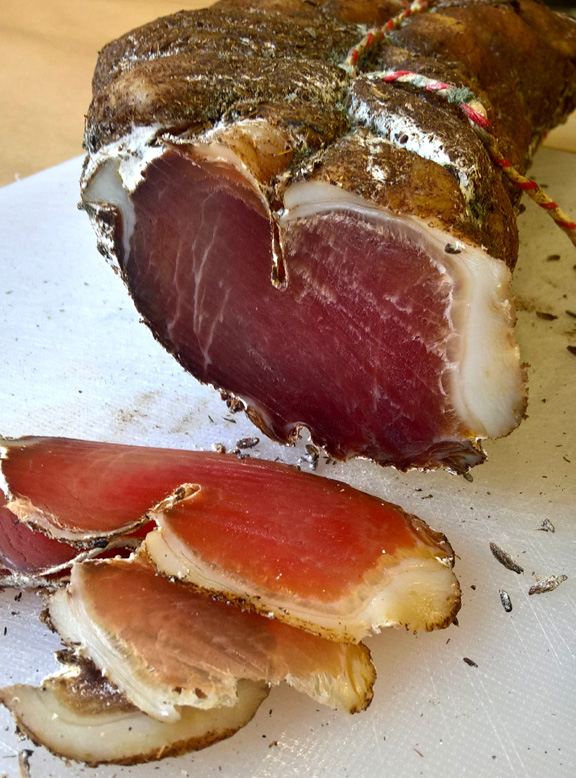 Air-dried, Orange & Fennel Lonza. This deliciously succulent whole muscle is free from Nitrates and Nitrites.