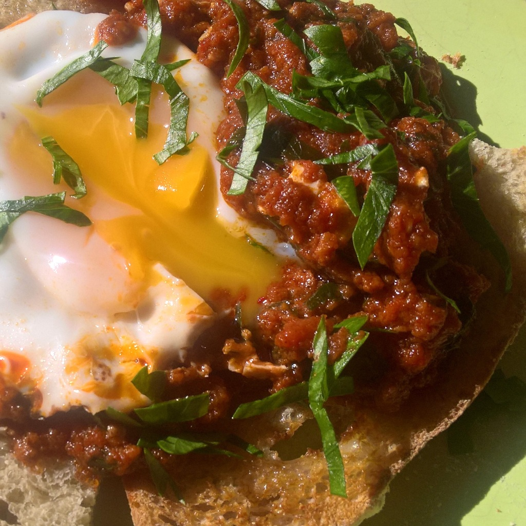 Nduja - Speadable Salami used in this classic recipe - Eggs in Purgatory
